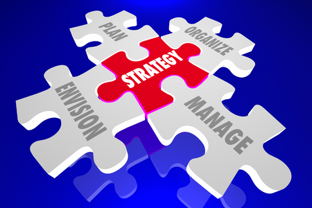 organize: Strategy Envision Plan Organize Manage Puzzle Pieces 3d Animation Words Stock Photo