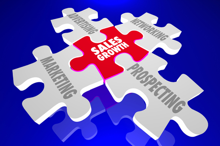 prospect: Sales Growth Marketing Advertising Networking Prospect Puzzle Pieces 3d Illustration Stock Photo