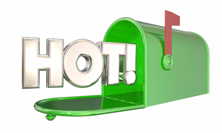 arrive: Hot News Message Mailbox Popular Product Word 3d Illustration