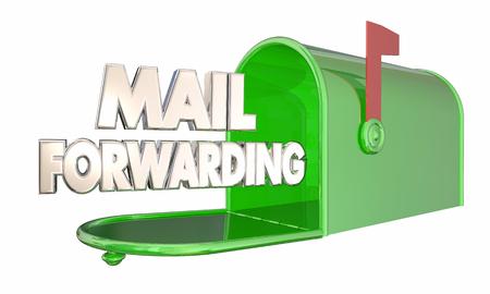 forwarding: Mail Forwarding Moving Relocation Mailbox Words 3d Illustration