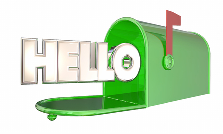arrive: Hello Greeting Mailbox Word Welcome 3d Illustration