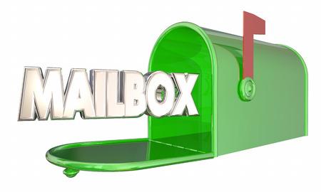 メールボックス緑金属メッセージ Word 3 d イラストレーション