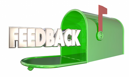feedback: Feedback Message Input Comments Mailbox Word 3d Illustration Stock Photo