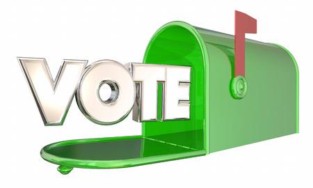 投票の不在者投票選挙の単語メールボックス 3 d イラストレーション