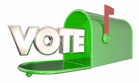 absentee voting: Vote Absentee Ballot Election Word Mailbox 3d Illustration Stock Photo