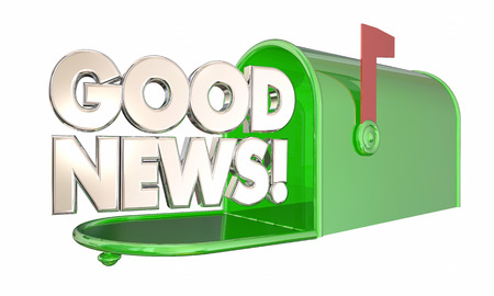 excite: Good News Mailbox Great Information Positive Message 3d Illustration