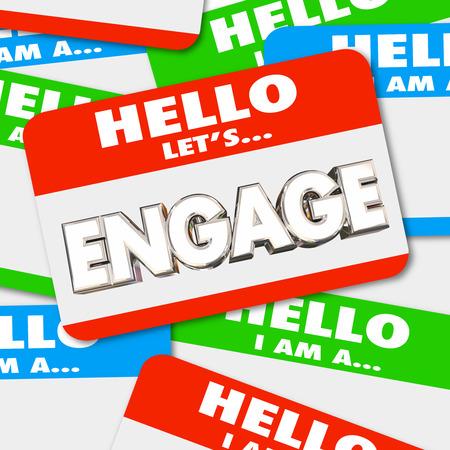 こんにちは従事する名札を得る関与して挨拶をすることができます単語の 3 d 図 写真素材