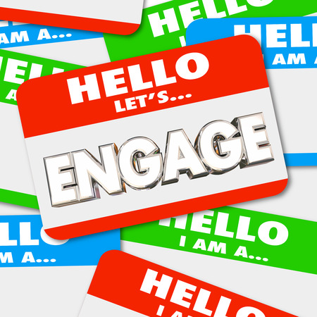 meet and greet: Hello Lets Engage Nametag Get Involved Greeting Word 3d Illustration Stock Photo
