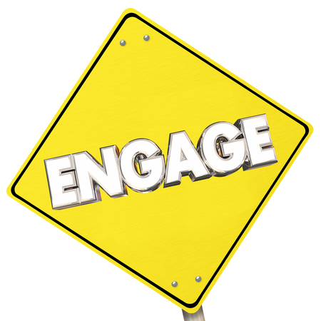 navigating: Engage Yellow Sign Road Participate Ahead Word 3d Illustration Stock Photo