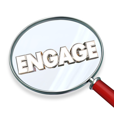 involvement: Engage Find Search Involvement Magnifying Glass Word 3d Illustration Stock Photo