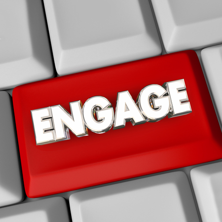 participate: Engage Computer Keyboard Button Action Get Involved Word 3d Illustration