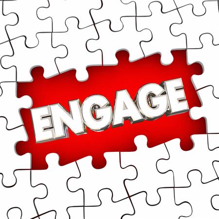 Engage Puzzle Pieces Solve Problem Participation Involvement Word 3d Illustration