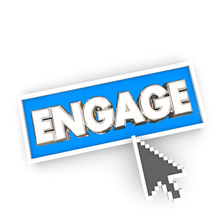 participation: Engage Arrow Button Press Internet Website Click Communicate Word 3d Illustration Stock Photo