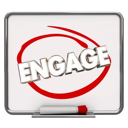 verlobung: Engage Circled Dry Erase Board Marker Teilen Mitteilung-Wort 3D-Illustration Kommunizieren
