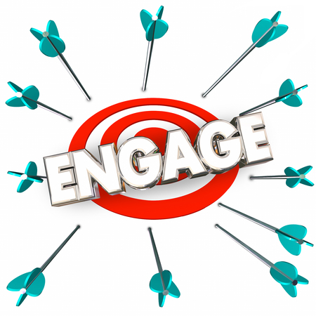 Engage Get Involved Participate Arrows Bullseye Word 3d Illustration Banco de Imagens