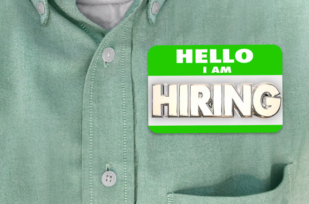 meet and greet: Hiring Name Tag Sticker New Employee Shirt Interview Word 3d Illustration