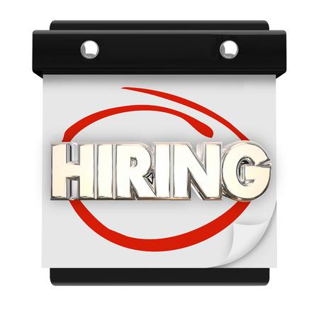 recruit help: Hiring Calendar Page Reminder Job Career Fair Word 3d Illustration