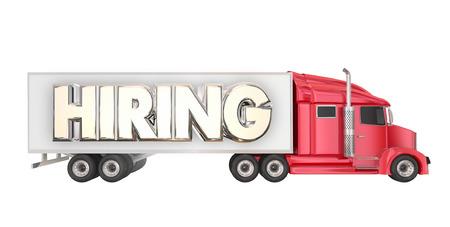 hauler: Hiring Truck Drivers Long Haul Carrier Transportation Job Word 3d Illustration