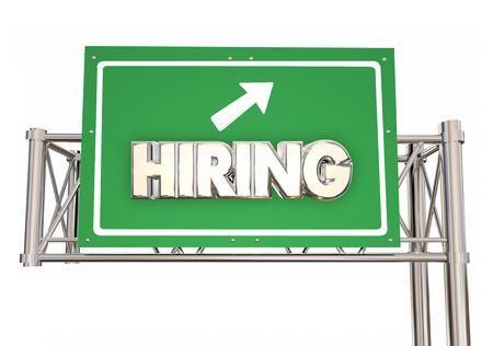Hiring Freeway Green Sign New Jobs Ahead Help Wanted Word 3d Illustration Stock Photo