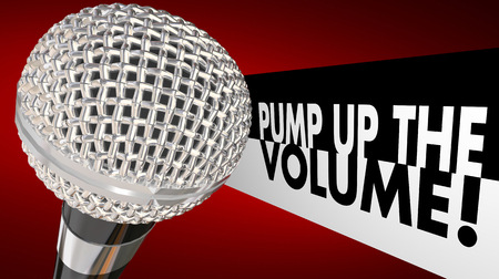 top animated: Pump Up the Volume Microphone Increase Voice Words 3d Illustration