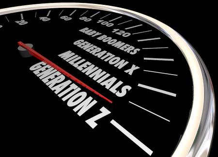 Generatie XYZ Millennials Snelheidsmeter Woorden 3d Illustratie Stockfoto