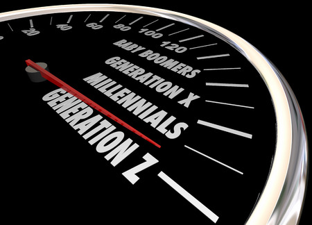 Generation X Y Z Millennials Speedometer Words 3d Illustration Stok Fotoğraf - 56707677