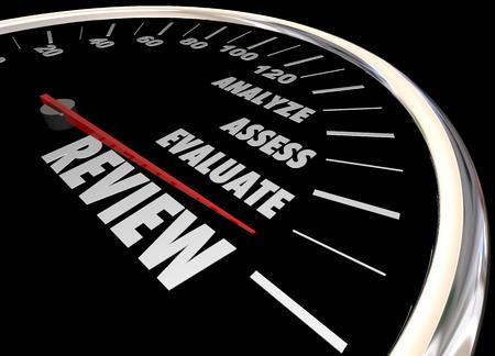 Bewertung Analysieren Bewerten Speedometer 3d Illustration Beurteilen