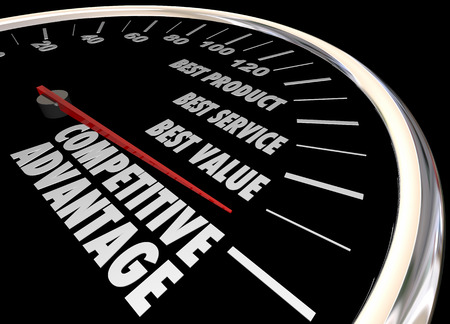advantages: Competitive Advantage Better Product Price Service Speedometer 3d Illustration Stock Photo