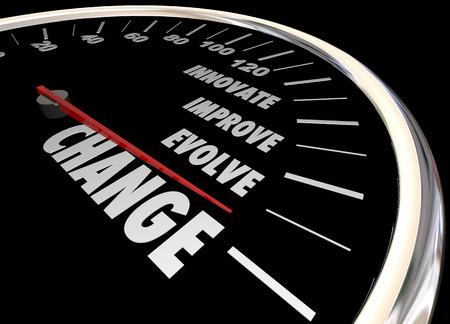Changer Innover Améliorer Impliquer Speedometer 3d Illustration