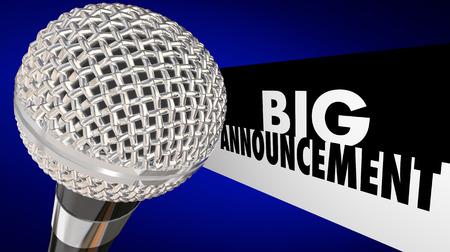 큰 발표 중요 뉴스 업데이트 메시지 마이크 3d 일러스트 레이션