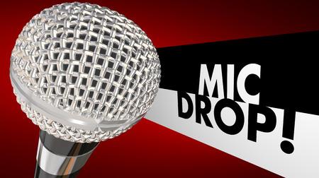 gota: Mic Micrófono gota que cae Palabras finales Animación Ilustración 3d