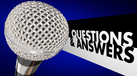 discussion forum: Questions and Answers Q A Forum Discussion Audience Microphone 3d Illustration Stock Photo
