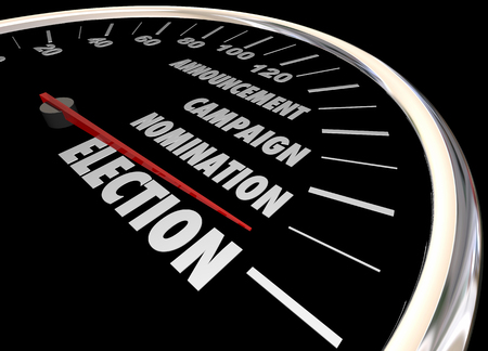 elected: Election Voting Democracy Campaign Nomintation Speedometer 3d Illustration