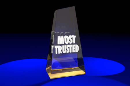 top animated: Most Trusted Trustworthy Reputation Award Words 3d Illustration