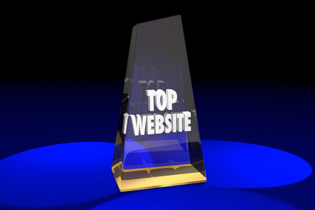website words: Top Website Best Online Digital Internet Award Words 3d Illustration