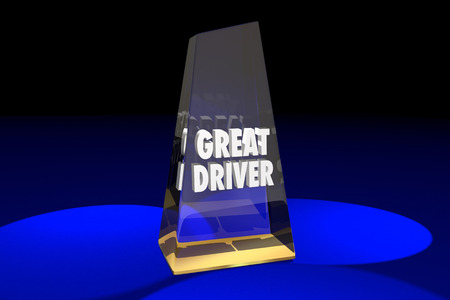 top animated: Great Driver Driving Safety Award Words 3d Illustration Stock Photo