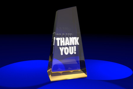 Thank You Appreciation Recognition Award Words 3d Illustration