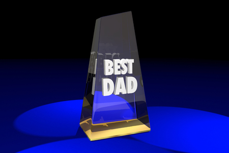Best Dad Father Parenting Award Words 3d Illustration