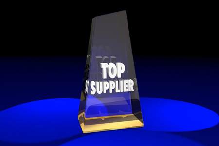 Top Supplier Vendor Provider Award Words 3d Illustration