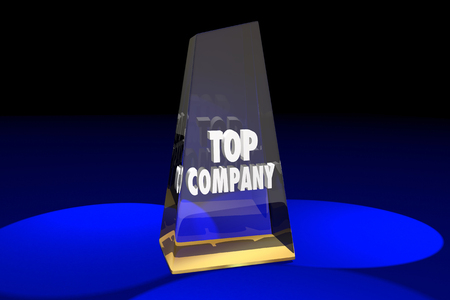 top animated: Top Company Best Business Award Words 3d Illustration
