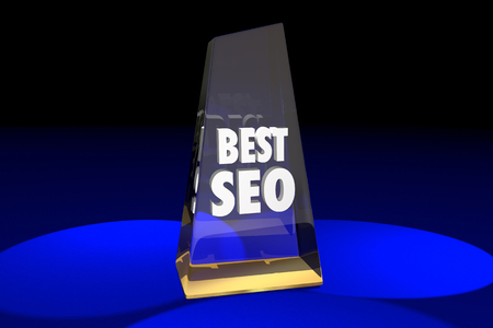Best SEO Search Engine Optimization Award Words 3d Illustration