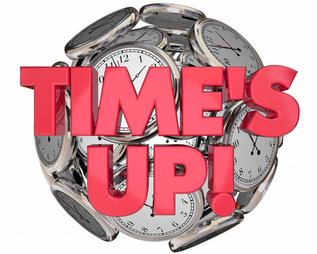 Times Up Clocks Sphere Ball Deadline End Session 3d Illustrationz