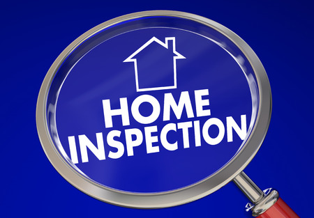 safety check: Home Inspection Magnifying Glass House Safety Check 3d Illustration Stock Photo