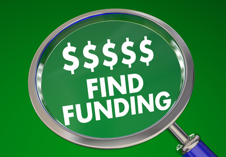 Find Funding Money Resources Business Investment Magnifying Glass 3d Illustration Stock Photo