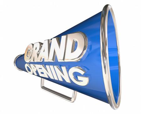 new beginnings: Grand Opening Celebration Event Bullhorn Megaphone 3d Illustration Stock Photo