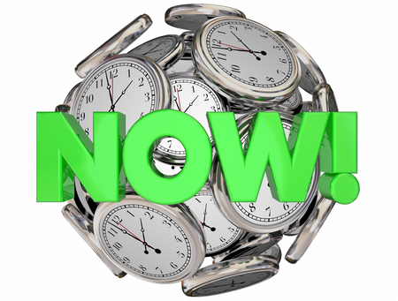 commence: Now Clocks This Moment Time Urgent Word 3d Illustration