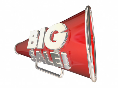 Big Sale Save Money Megaphone Bullhorn 3d Animation Stock Photo