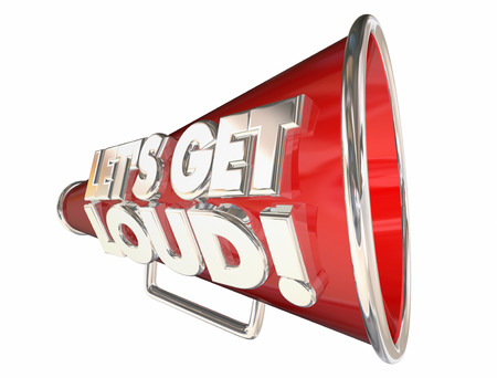 bullhorn: Lets Get Loud Applause Volume Audience Bullhorn Megaphone Stock Photo
