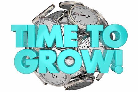 expanding: Time to Grow Clocks Expand Improve Increase Words 3d Illustration