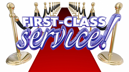 attentive: First Class Service Red Carpet Treatment Words 3d Illustration Stock Photo
